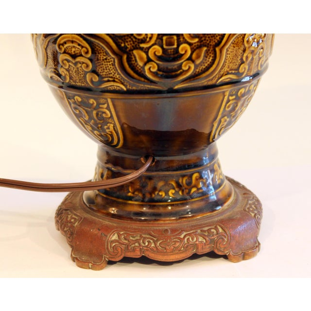 Antique Old Gien French Pottery Deck Style Oil Lamp 19th Century Electrified For Sale In New York - Image 6 of 11