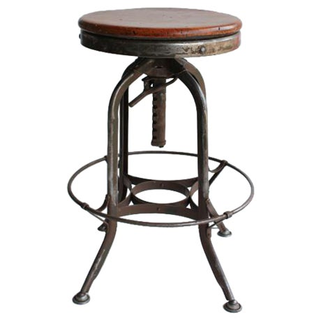 1930's Vintage American Industrial Toledo Swivel Stool For Sale