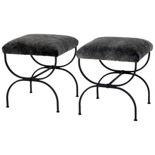 Pair of 'Strapontin' Wrought Iron and Fur Stools For Sale