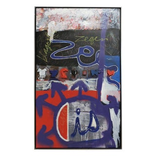 Large Abstract Graffiti Art Mixed-Media Painting For Sale