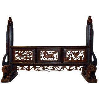 Antique Hand-Carved Mirror Frame With Fretwork From 18th Century, China For Sale