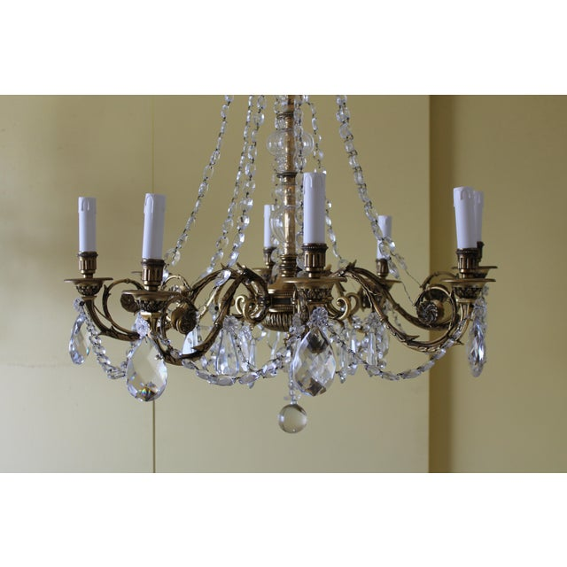 Maison Baguès 19th Century Maison Bagues Palm Motif Eight Light Crystal & Bronze Chandelier = Neoclassical Style For Sale - Image 4 of 13