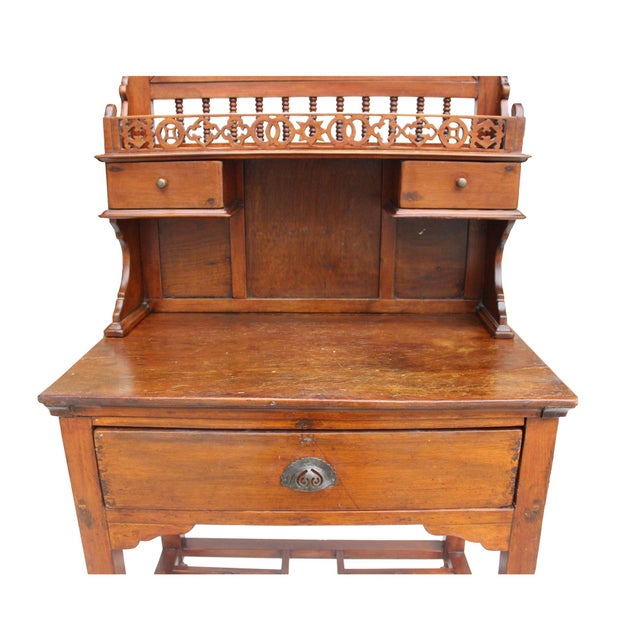 1950s Chinese Oriental Vintage Wash Basin Make Up Vanity Table Chest For Sale - Image 5 of 8