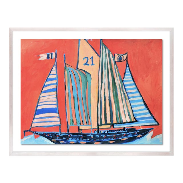 SB Norman's Cay by Lulu DK in White Wash Framed Paper, Small Art Print For Sale