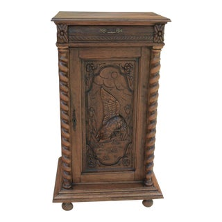 Antique French Oak Barley Twist Cabinet Bookcase Nightstand Black Forest For Sale