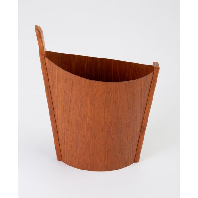 Mid-Century Modern Asymmetric Teak Waste Basket by Westnofa For Sale - Image 3 of 13