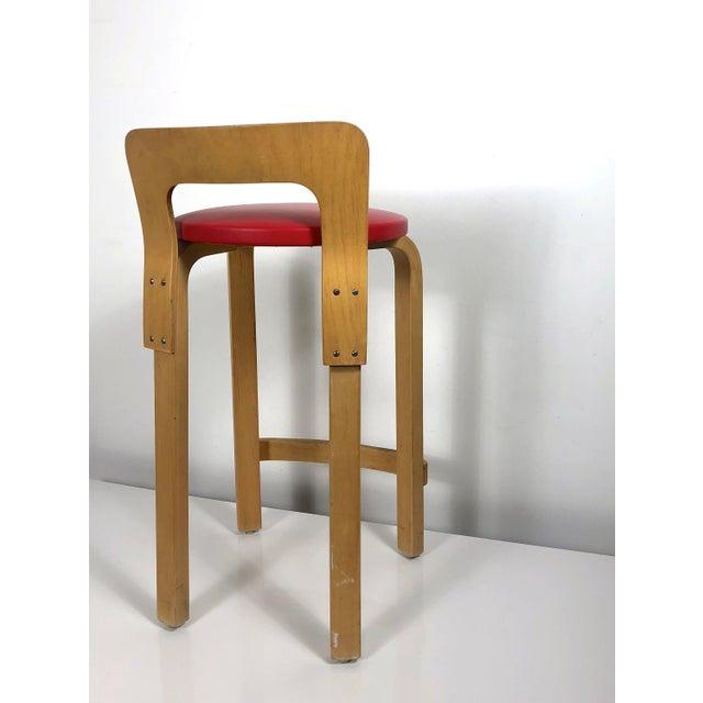 "Original production K65 High Chair or Stool Designed by Alvar Aalto for Artek, Finland in 1935. Patented ""L-leg"" base..."