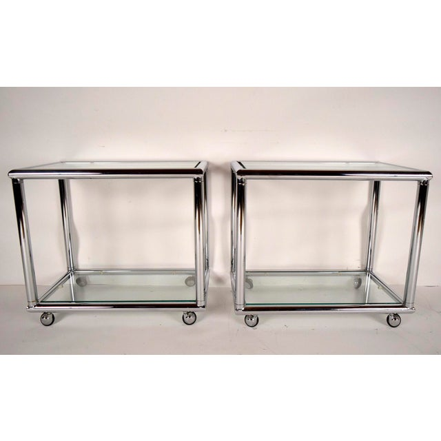 Mid-Century Modern Chrome End Tables - Pair - Image 3 of 7