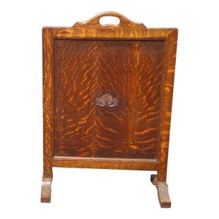 Antique Vintage Tiger Oak Panel Fireplace Screen For Sale