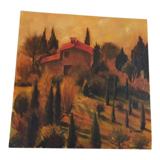 """Small """"Italy"""" Painting on Canvas For Sale"""