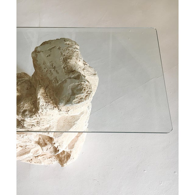 Glass Sirmos Quarry Style Plaster Console Table For Sale - Image 7 of 8
