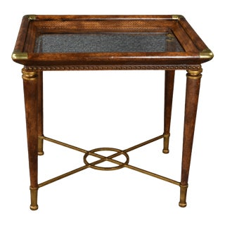 Mid-Century Leather Wrapped Side Table For Sale