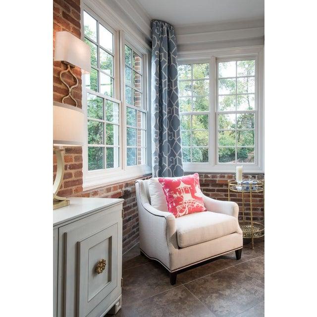 Scalamandre Ming Fretwork Fabric Window Treatments Drapes - Set of 4 - Image 3 of 6