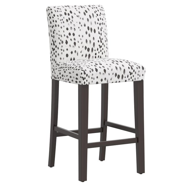 Gray Bar stool in Linen Leopard Ink For Sale - Image 8 of 8