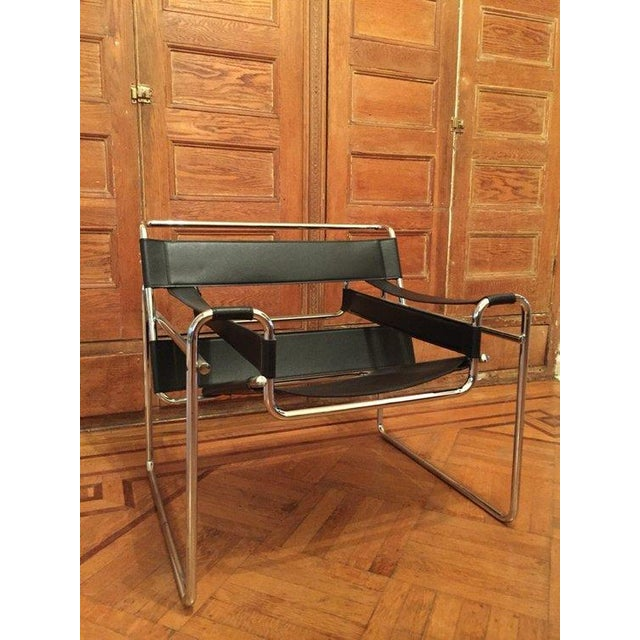 Wassily Vintage Black Leather & Chrome Chair - Image 2 of 4