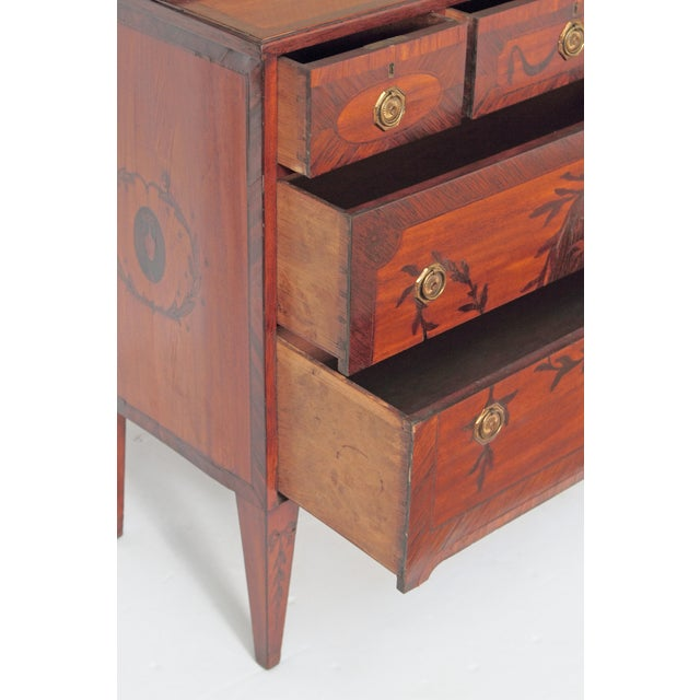 Fabric George III Satinwood and Inlaid Bookcase Attributed to Gillows For Sale - Image 7 of 13