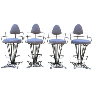 Set of Four Iron Swivel Stools For Sale