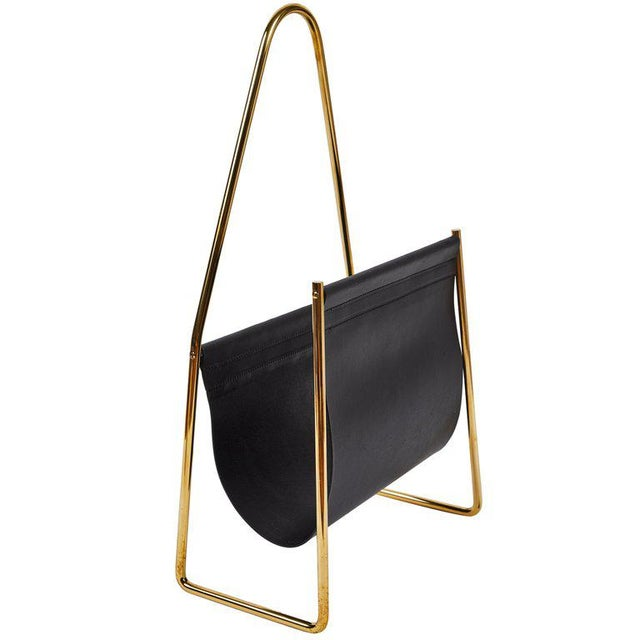 Modern Carl Auböck Model #3808 Brass and Leather Magazine Rack For Sale - Image 10 of 10