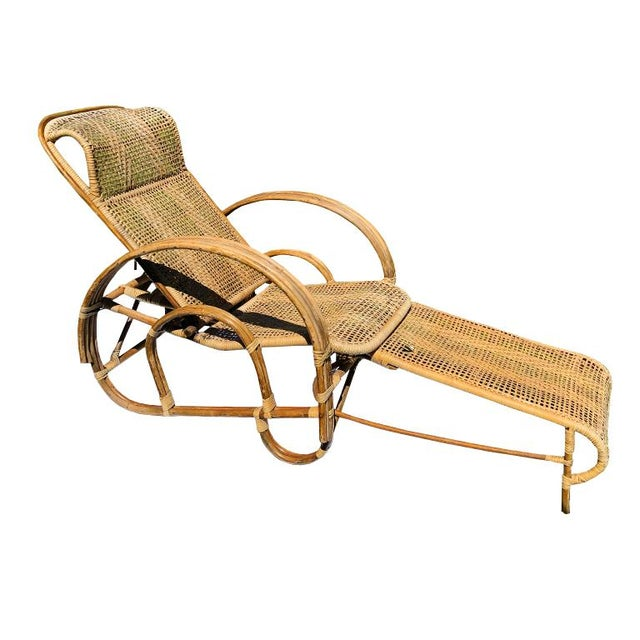 1920s Vintage Cane Pretzel Wood and Bamboo Patio Lounge ...