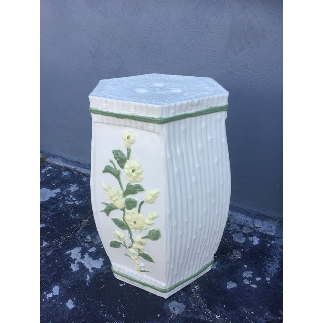 1970s Vintage Hollywood Regency Ceramic Faux Bamboo Garden Stool For Sale - Image 11 of 11