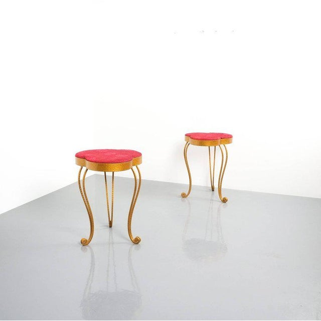 Gold Pair of Pier Luigi Colli Gold Iron Clover Stools Red Fabric, Italy, 1950 For Sale - Image 8 of 9