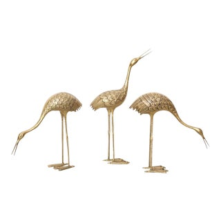 Set of Three Extraordinary Huge Brass Flamingos or Cranes For Sale