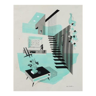 Mid-Century Modern Interior Illustration in Ink and Gouache For Sale