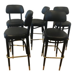 Brass and Black Thonet Bentwood Barstools - Set of 5 For Sale