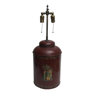1950s Toleware Painted Metal Canister Lamp For Sale