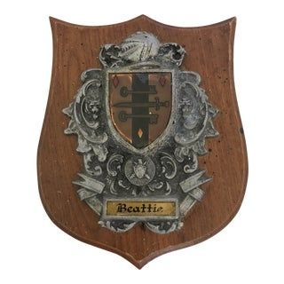 Antique Beattie Scottish Family Crest Wall Plaque For Sale