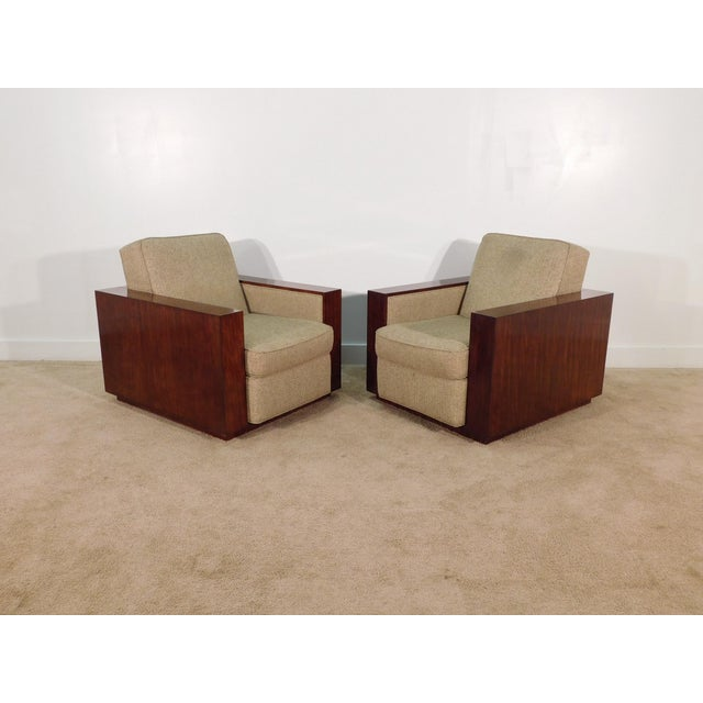 Contemporary Henredon Ralph Lauren Rosewood Metropolis Collection Club Tub Deck Chairs- A Pair For Sale - Image 3 of 13