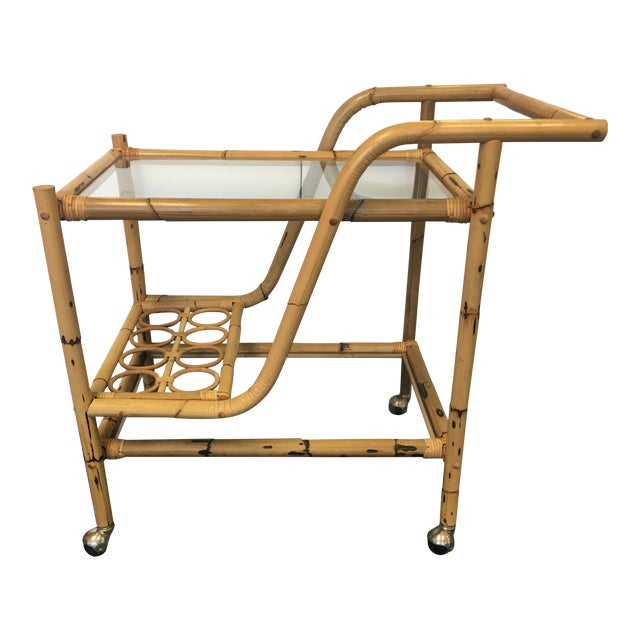 Vintage Bamboo & Rattan Bar Cart For Sale