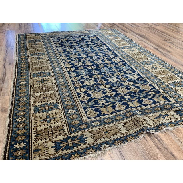 Late 19th Century Late 19th Century Antique Russian Caucasian Rug- 3′10″ × 5′3″ For Sale - Image 5 of 11