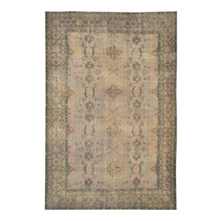 """Vintage Turkish Isparta Distressed Over-Dyed Area Rug - 6'10"""" X 10'4"""" For Sale"""