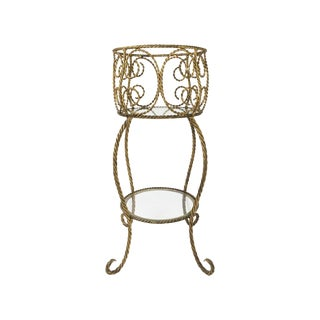 Hollywood Regency Gilt Metal Rope 2 Tier Plant Stand For Sale