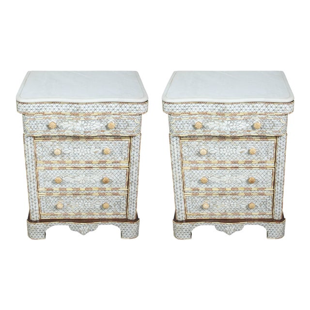 Pair of Mother-Of-Pearl Inlay Syrian Nightstands For Sale