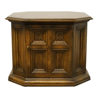 """American of Martinsville Bookmatched Walnut Mediterranean Style 26"""" Storage End Table 9640-631 For Sale"""