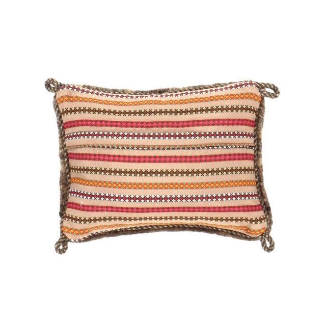This Gabbeh pillow is made of high-quality old and rare Persian Gabbeh carpets. The piece was crafted with good workmanship.