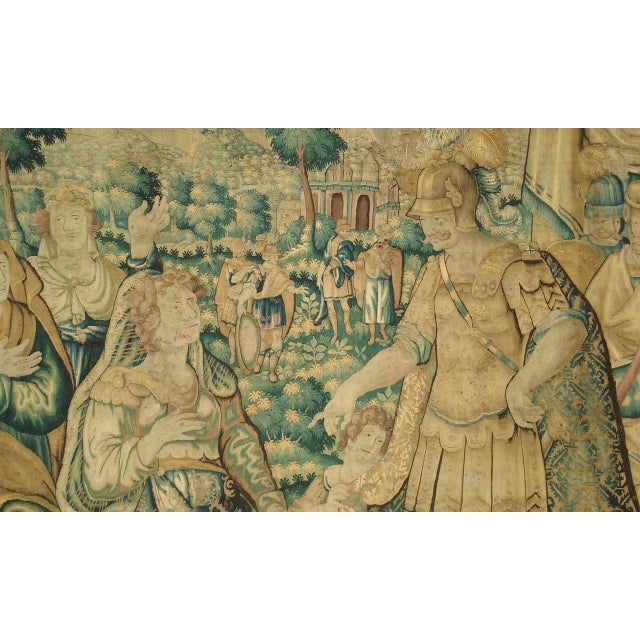 Antique Flemish Tapestry of Soldier Back From a Battle For Sale - Image 4 of 12