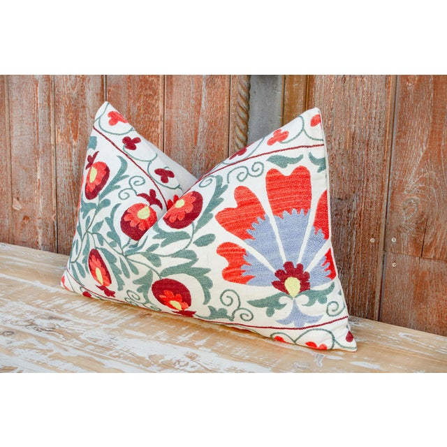 Boho Chic Jhui Coral Floral Suzani Pillow For Sale - Image 3 of 10