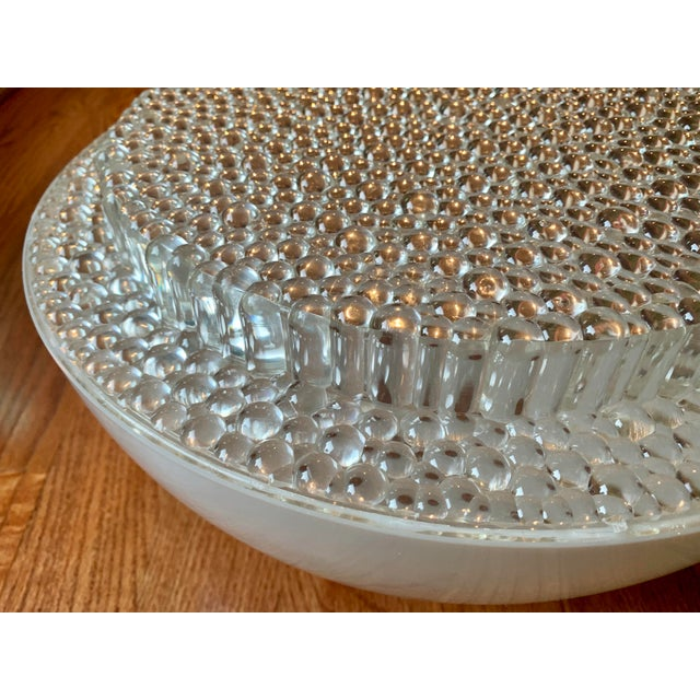 White Mid Century Modern Opaque Resin Dome Pendant With Textured Light Diffuser For Sale - Image 8 of 9