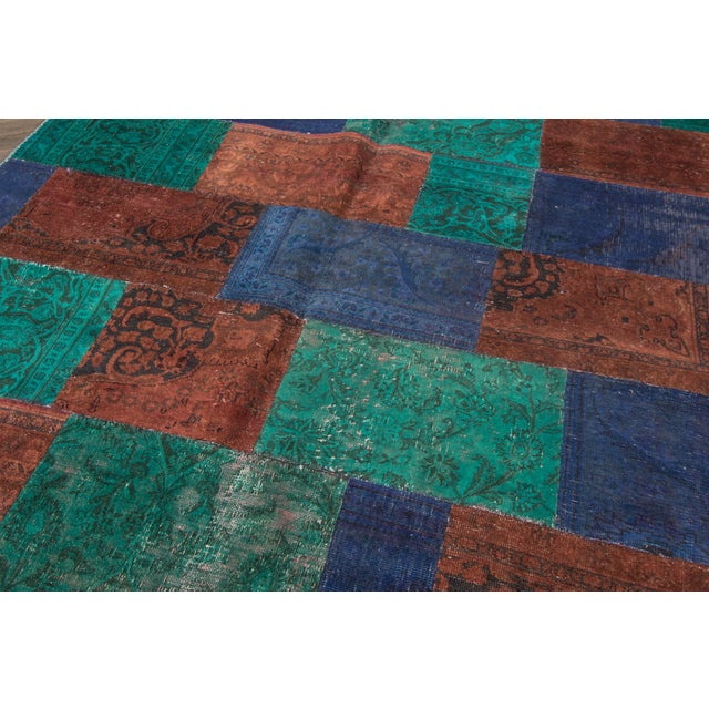 "Modern Vintage Patchwork Overdyed Rug - 6'6"" X 8'10"" For Sale - Image 3 of 6"