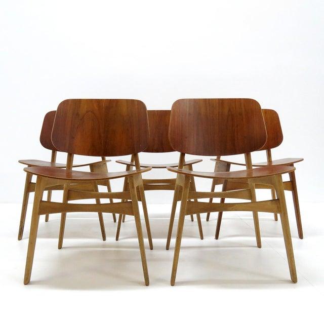 Soborg Mobler Set of 5 Børge Mogensen Dining Chairs, 1950s For Sale - Image 4 of 13