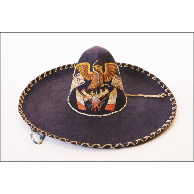 Early Mexican Navy Blue Embroidered Sombrero - Image 2 of 11