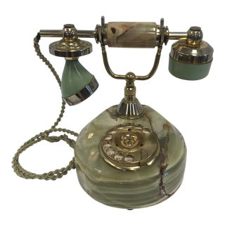 1960s Vintage Italian Hollywood Regency Alabaster Telephone For Sale