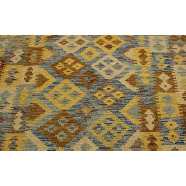1990s Rustic Southwestern Dustin Gray/Blue Hand-Woven Kilim Wool Rug -5'11 X 8'2 For Sale - Image 5 of 8