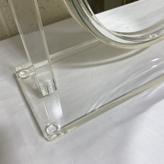 Glass Vintage Lucite Vanity Mirror For Sale - Image 7 of 10
