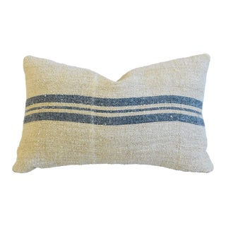 "Custom Blue-Gray Striped French Grain Sack Feather/Down Pillow 24"" X 15"""