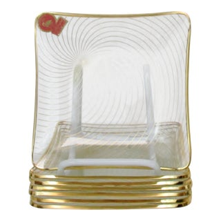 Glass & Gold Appetizer Plates, Set of 7 For Sale