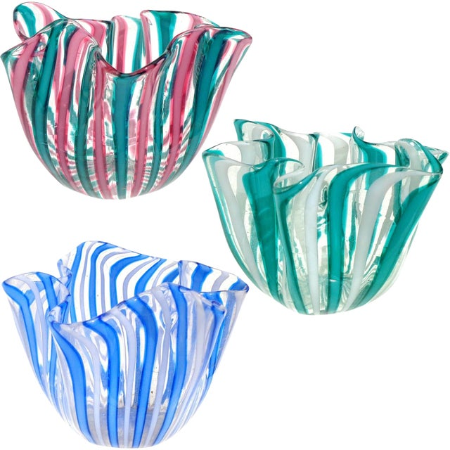 Bianconi Venini Murano Filigrana Stripes Italian Art Glass Fazzoletto Vases- Set of 3 For Sale
